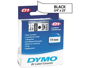 "Dymo 45803 Black on White D1 Label Tape 0.75"" Width x 23 ft Length - 1 Each - Polyester - Thermal Transfer - White"