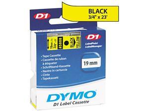 "Dymo 45808 Black on Yellow D1 Label Tape 0.75"" Width x 23 ft Length - 1 Each - Polyester - Thermal Transfer - Yellow"