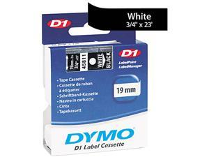 "Dymo 45811 White on Black D1 Label Tape 0.75"" Width x 23 ft Length - 1 Each - Polyester - Thermal Transfer - White"