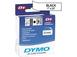 """Dymo 53713 Black on White D1 Label Tape 1"""" Width x 23 ft Length - 1 Each - White"""