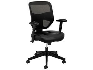 basyx VL531 Series High-Back Work Chair, Mesh Back, Padded Mesh Seat, Black Leather