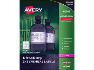 Avery Avery GHS Chemical Label 60505, for Laser Printer, PK500, 60505