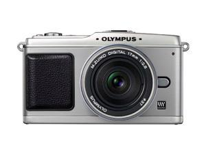 OLYMPUS PEN DIGITAL E-P1 Silver Interchangeable Lens Type Live View Digital Camera w/ 17mm f/2.8 Lens and Optical Viewfinder