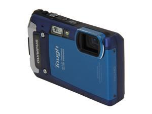 OLYMPUS TG-820 iHS Blue 12 MP Waterproof Shockproof 28mm Wide Angle Digital Camera HDTV Output