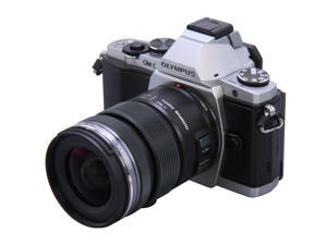 """OLYMPUS OM-D E-M5 Silver 16.1 MP Live MOS Interchangeable Lens Camera with 3"""" OLED Touchscreen 12-50mm Lens Kit"""
