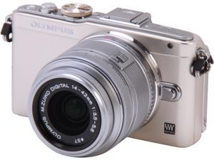 """OLYMPUS E-PL5 V205041SU000 Silver 16.1 MP 3.0"""" 460K Touch LCD Micro Four Thirds interchangeable lens system camera with 14-42mm II R Lens"""