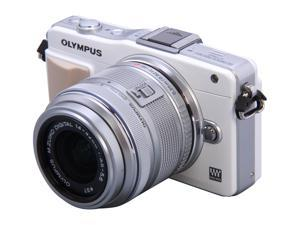 OLYMPUS E-PM2 White Micro Four Thirds Interchangeable Lens System Camera with Silver 14-42mm II R M. Zuiko Lens