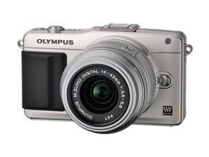 OLYMPUS E-PM2 Silver Micro Four Thirds Interchangeable Lens System Camera with 14-42mm II R M. Zuiko Lens
