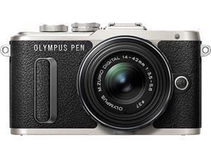 OLYMPUS V205081BU000 Black PEN E-PL8 Black Body with 14-42 IIR Black Lens
