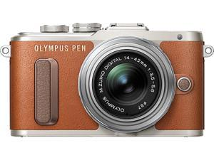 OLYMPUS V205081NU000 Brown PEN E-PL8 Brown Body with 14-42 IIR Silver Lens