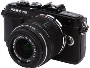 """OLYMPUS PEN E-PL7 V205071BU000 Black 16.1MP 3.0"""" 1037K Touch LCD Micro Four Thirds Interchangeable Lens System Camera with M.Zuiko 14-42mm f3.5-5.6 II R Lens"""