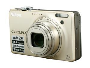 Nikon COOLPIX S6000 Champagne Silver 14.2 MP 28mm Wide Angle Digital Camera