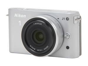 Nikon 1 J1 Silver 10.1MP HD Digital Camera System with 10mm and 10-30mm VR Zoom Lens