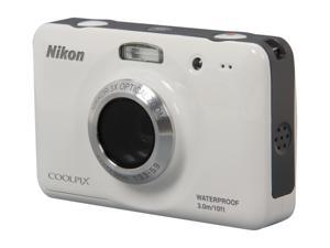 Nikon Coolpix S30 26317 White 10.1 MP Waterproof Shockproof Wide Angle Digital Camera