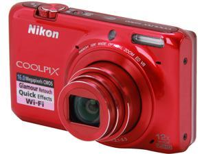 Nikon COOLPIX S6500 26372 Red > 16.0 MP 12X Optical Zoom Digital Camera HDTV Output