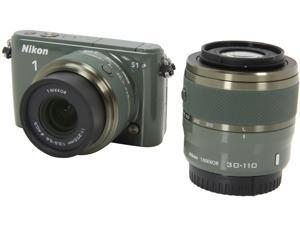 Nikon 1 S1 (27631) Khaki Mirrorless Digital Camera with 11-27.5mm & 30-110mm Lenses