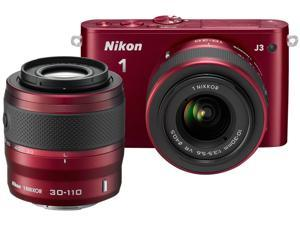 Nikon 1 J3 (27649) Red Advanced Camera with 10-30mm & 30-110mm VR Lenses