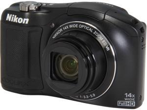 Nikon COOLPIX L620 Black 18.1MP 14X Optical Zoom 25mm Wide Angle Digital Camera HDTV Output