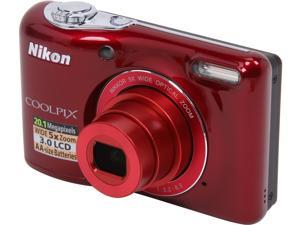 Nikon COOLPIX L30 Red 20.1 MP 5X Optical Zoom 26mm Wide Angle Digital Camera