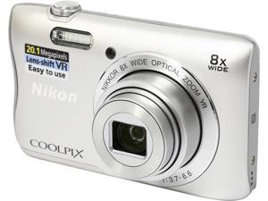 Nikon COOLPIX S3700 Silver 20.1 MP 8X Optical Zoom 25mm Wide Angle Digital Camera