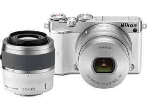 "Nikon 1 J5 27712 White 20.8 MP 3.0"" 1037K Touch LCD Mirrorless Digital Camera with 10-30mm and 30-110mm Lenses"