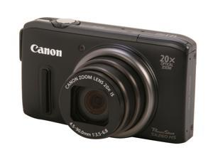 Canon PowerShot SX260 HS Black 12.1 MP 25mm Wide Angle Digital Camera HDTV Output