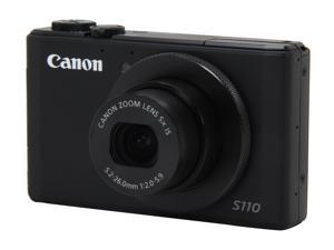 Canon PowerShot S110 Black Approx. 12.1 MP 5X Optical Zoom 24mm Wide Angle Digital Camera HDTV Output