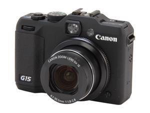 Canon PowerShot G15 6350B001 Black Approx. 12.1 MP 28mm Wide Angle Digital Camera HDTV Output