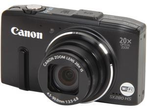 Canon Powershot SX280 HS 8224B001 Black 12.1 MP 20X Optical Zoom 25mm Wide Angle Digital Camera HDTV Output