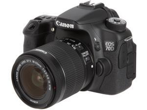 Canon EOS 70D (8469B009) Digital SLR Cameras Black 20.2 MP Digital SLR Camera with 18-55mm STM f/3.5-5.6 Lens