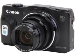 Canon PowerShot SX700 HS Black 16.1 MP 30X Optical Zoom 25mm Wide Angle Digital Camera HDTV Output