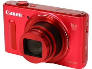 Canon PowerShot SX610 HS Red 20.2 MP 18X Optical Zoom 25mm Wide Angle High-End, Advanced Digital Camera HDTV Output