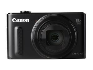 Canon PowerShot SX610 HS Black 20.2 MP 18X Optical Zoom 25mm Wide Angle High-End, Advanced Digital Camera HDTV Output