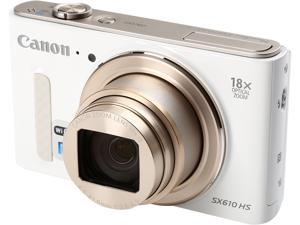 Canon PowerShot SX610 HS White 20.2 MP 18X Optical Zoom 25mm Wide Angle High-End, Advanced Digital Camera HDTV Output