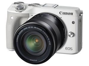 Canon EOS M3 9772B011 White 24.2 MP Horizontal: 6.2cm, Vertical: 4.2cm LCD Mirrorless Digital Camera with 18-55mm Lens