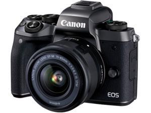 """Canon EOS M5 1279C011AA Black 24.2 MP 3.2"""" LCD Compact Mirrorless System Camera with EF-M 15-45mm Lens"""