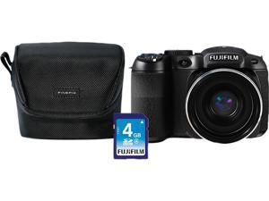 FUJIFILM FinePix S2980 600011859 Black 14 MP Bridge Digital Camera Bundle Includes Fuji Case & 4GB SD HDTV Output