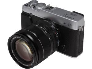 "FUJIFILM X-E2 16404935 Silver 16 MP 3.0"" 1040K LCD Compact Mirrorless System Camera with 18-55mm Lens"