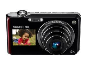 SAMSUNG DualView TL210 Black/Red 12.2 MP 5X Optical Zoom 27mm Wide Angle Digital Camera