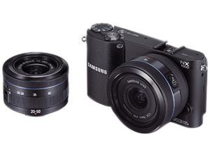 "SAMSUNG NX1000 (EV-NX1000BDBUS) Black Approx. 20.3 MP 3.0"" 921K LCD Compact System Camera with 20-50mm and 16mm Lenses"