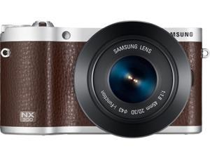 SAMSUNG EV-NX300ZBXVUS Brown 20.3 MP Mirrorless Digital Camera with 45mm f/1.8 2D/3D Lens