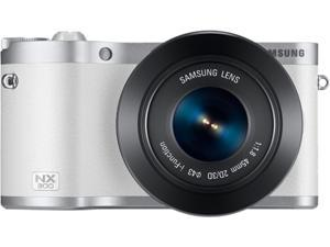 "SAMSUNG EV-NX300ZBYUUS White 20.3 MP 3.3"" 768K LCD Mirrorless Digital Camera with 45mm f/1.8 2D/3D Lens"