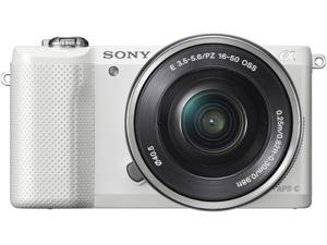 "SONY Alpha a5000 ILCE-5000L/W White 20.1MP 3.0"" 460K LCD Compact Interchangeable Lens Digital Camera with 16-50mm Lens"