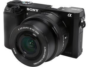 "SONY Alpha a6000 ILCE-6000L/B Black 24.3 MP 3.0"" 921.6K LCD Mirrorless Camera w/ 16-50mm Lens"