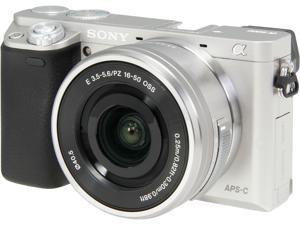 """SONY Alpha a6000 ILCE-6000L/S Silver 24.3MP 3.0"""" 921.6K LCD Mirrorless Interchangeable-lens Camera w/ 16-50mm lens"""