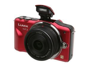 "Panasonic LUMIX DMC-GF3CR Bright Red 12.1 MP 3.0"" 460K Touch LCD Digital Interchangeable Lens System Camera w/ 14mm Lens"