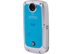 GE DV1 Waterproof/Shockproof 1080P Pocket Video Camera Aqua Blue