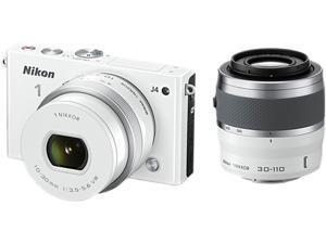 "Nikon 1 J4 27687 White 18.4MP 3.0"" 1037K LCD Camera with 10-30&30-110 mm lenses"