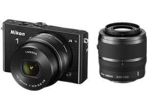 """Nikon 1 J4 27704 Black 18.4MP 3.0"""" 1037K LCD Camera with 10-30&30-110 mm lenses"""