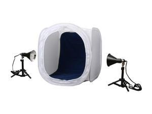 "Lumiere L.A. L60229 24"" Portable Photo Studio Cube with 4 Colors Background & 2 x 100 Watts 5500K Table Fluorescent Light"